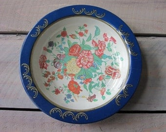 Kitschy Round Metal Tin Bowl with Floral Pattern