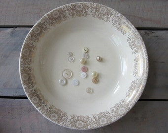 China Bowl with Gold Floral Trim