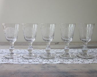 Set of Five Etched Cordial Glasses