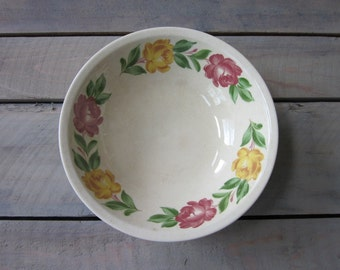 Shabby Chic Glazed Pottery Bowl with Yellow and Pink Flowers