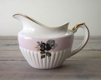 English China Pitcher with Black Rose
