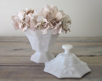 Milk Glass Candy Dish with Grape Leaves Pattern