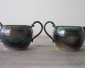 Silver Plate Creamer and Sugar Set Perfectly Tarnished