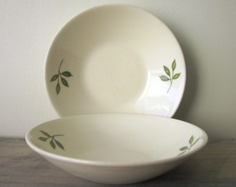 Small Creamy White Bowls with Green Sprout Leaves Vernon Ware Set of Two