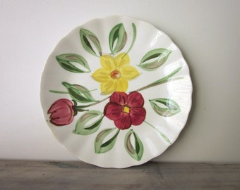 Hand Painted Glazed Pottery Plate with Flowers