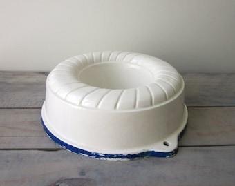 Chippy White and Blue Ceramic Jello Mold