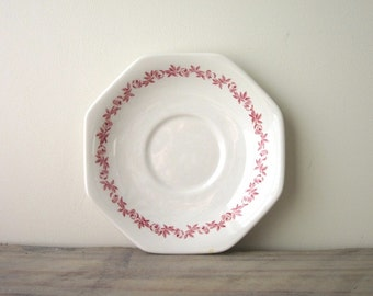 White Ironstone Plate Suacer with Red Floral Trim J & G Meakin
