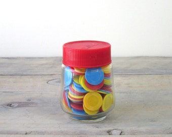 Glass Jar of Vintage Playing Chips