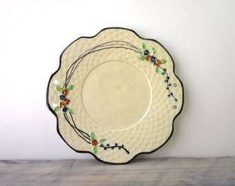 Hand Painted Yellow and Black China Plate Wall Hanging