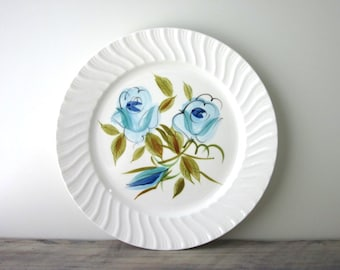 Blue and White Floral Platter - Hand Painted