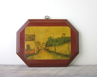 Wood Wall Hanging with Maurice Utrillo V Picture