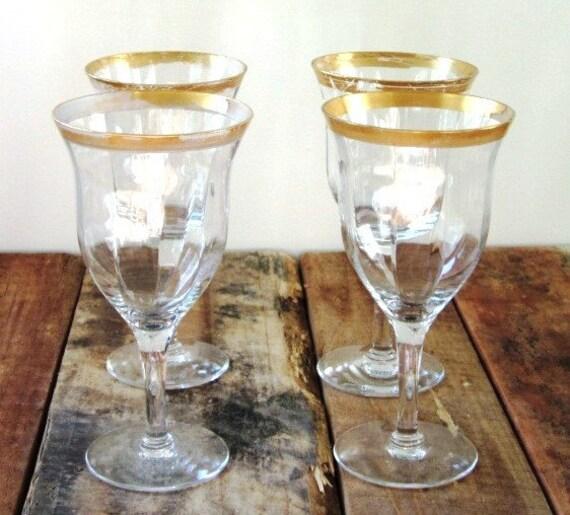 Set of 4 Crystal Gold Rimmed Wine Glasses
