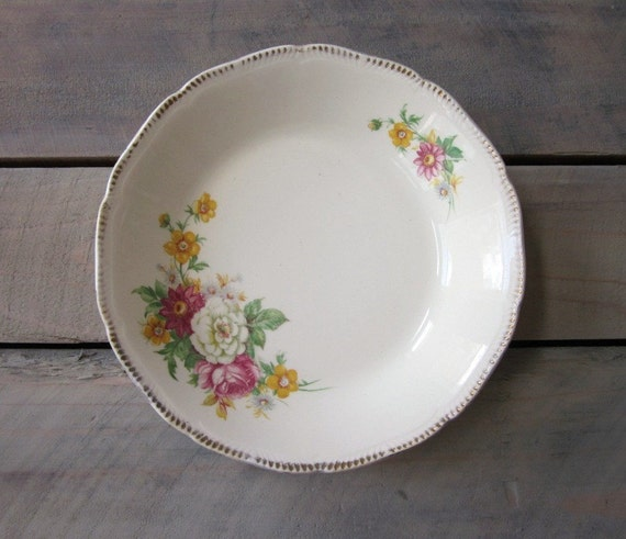 English Floral China Soup Serving Bowl