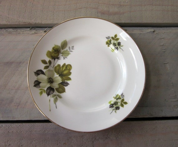 Small Green Floral China Plate with Gold Trim