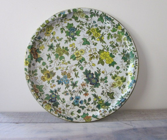Large Floral Tin Metal Serving Tray - Shabby Chic Floral Pattern - Made in England