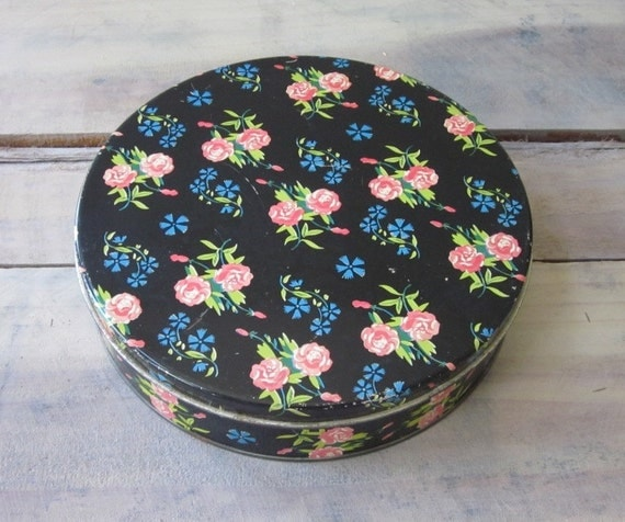 Round Black Metal Tin with Pink, Blue, Green Chintz Floral Pattern