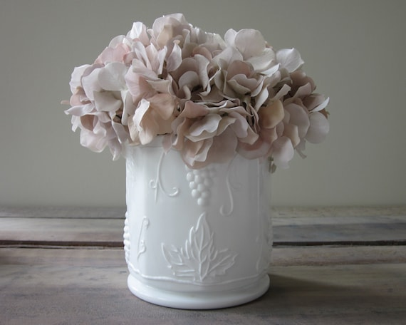 Milk Glass Vase with Grape Leaf Pattern