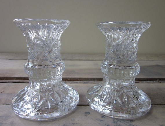Pair of Vintage Crystal Candle Holders RESERVED FOR KIMBERLY