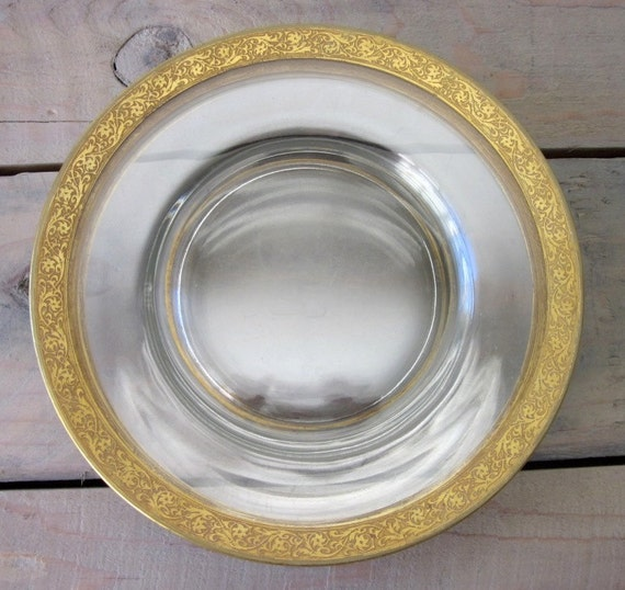 Glass Plates with Gold Leaf Trim Set of Four
