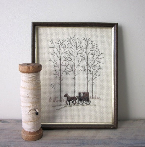 Vintage Needlepoint Horse Carriage Trees Wood Frame Wall Hanging