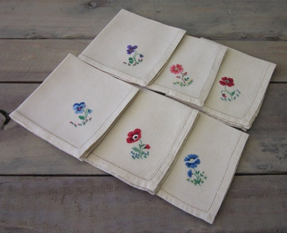 Linen Napkins with Embroidery Flowers Set of Six - RESERVED FOR LAURA