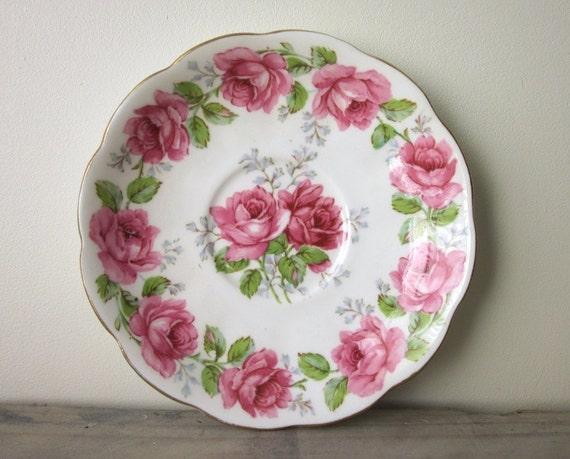 Small Shabby Chic China Plate Dish Pink Rose Flowers