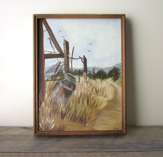 Vintage Oil Painting - Signed - Country Road Wheat Scene