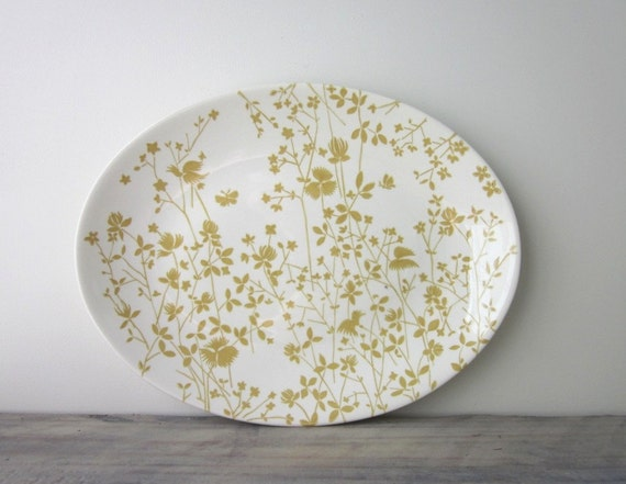 Yellow and White Floral China Ironstone Platter by Sheffield