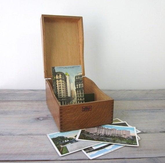 Vintage Wood Card File Box by Weis