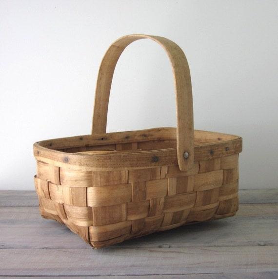 Vintage Wood Gathering Basket
