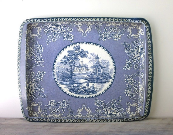 Blue and White Asian Motif Metal Tin Tray Daher