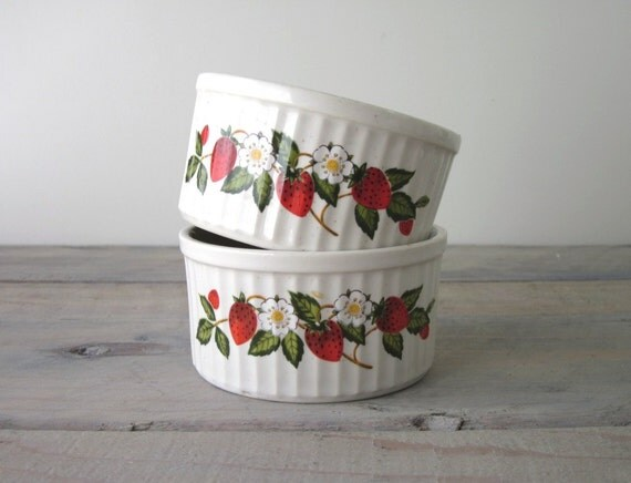 Strawberries 'n Cream Sheffied Ramekin Bowls - Set of Two