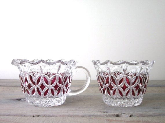 Ruby and Clear Crystal Glass Creamer and Sugar Bowl Set