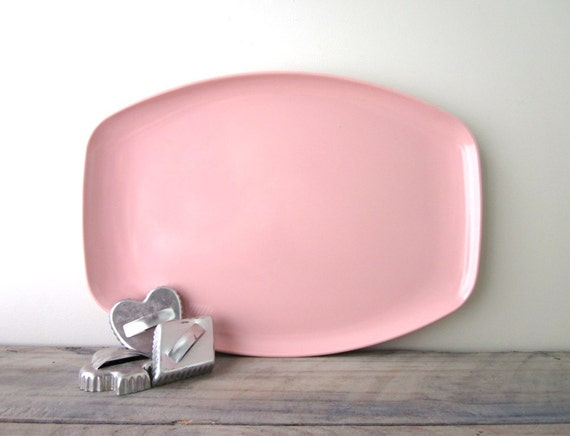 Pink Melmac Serving Tray