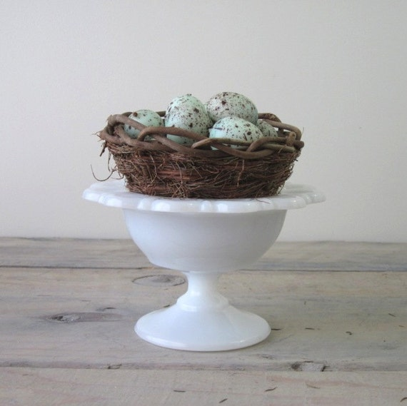 Milk Glass Footed Compote Candy Dish with Lace Edge