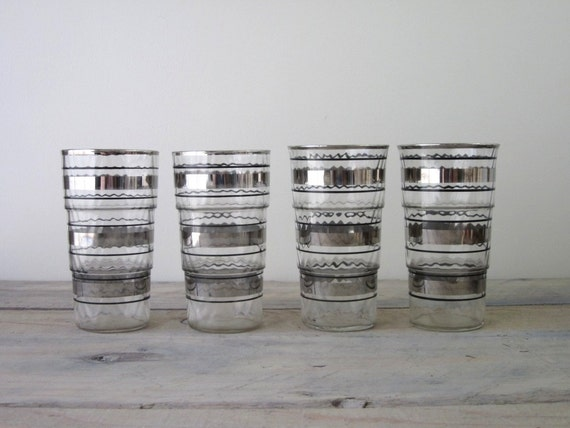 Silver and Black Striped Cocktail Glasses Set of Four