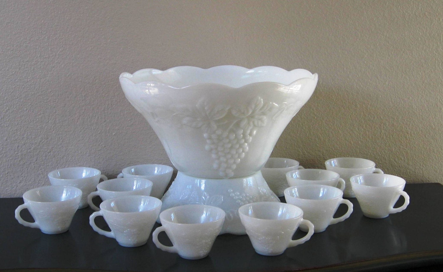 Milk Glass Punch Bowl Set Bowl Stand and 12 Cups by 22BayRoad