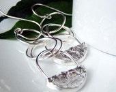 Silver Earrings, Dangly Padlock Earrings, Long Silver Hoops