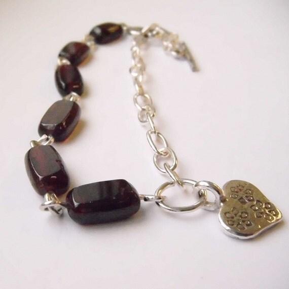 Bracelet Sterling Silver Karen H T Silver Garnet Heart