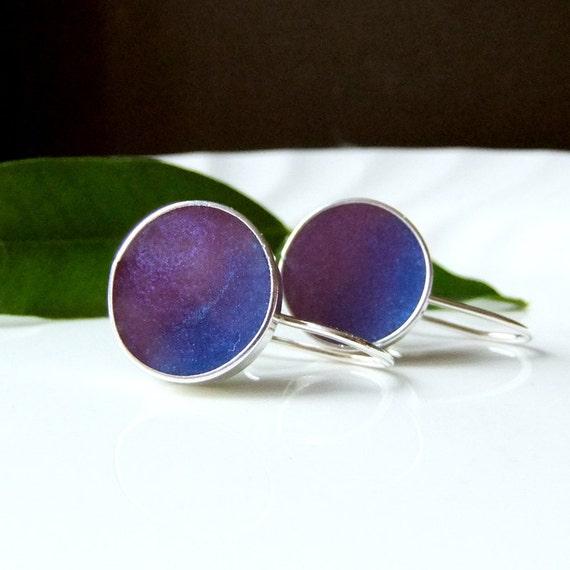 Blue Earrings, Mauve Shimmer Resin Silver Dangle Earrings, Mauve and Blue Pearly  earrings