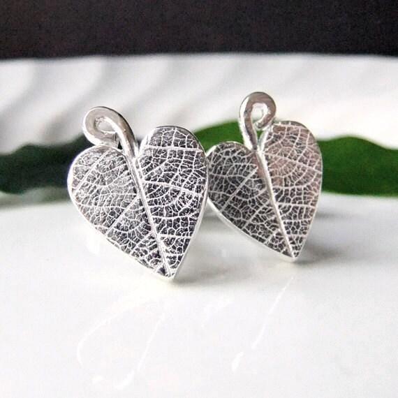 Silver Heart Cufflinks, Leaf Cufflinks Wedding Cuff links