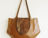 Raw N' Roll collection - fur leather diaper bag in waxy toast brown