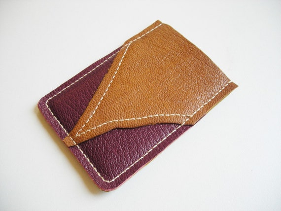 Raw N' Roll collection - leather card holder in dark purple/ coffee brown