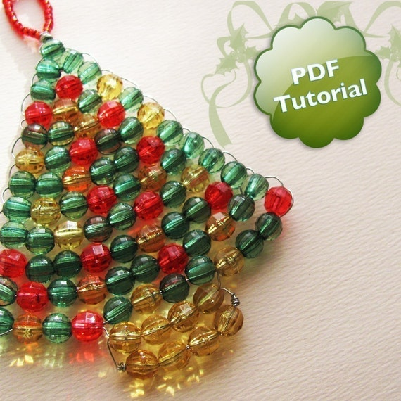 DIY PDF Tutorial - Xmas Tree, Beaded Christmas Ornament or Souvenir