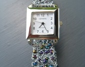 Knitted Wire and Bead Silver Wrist Watch with Black and White Beads
