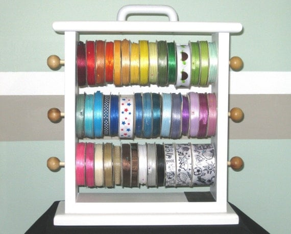 Painted Original Ribbon Storage Rack  Scrapbookers and Crafters organize all your ribbon.