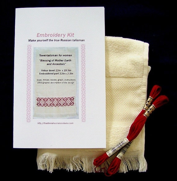 Blessing of Mother Earth and Ancestors, embroidery kit to make true Russian talisman for women