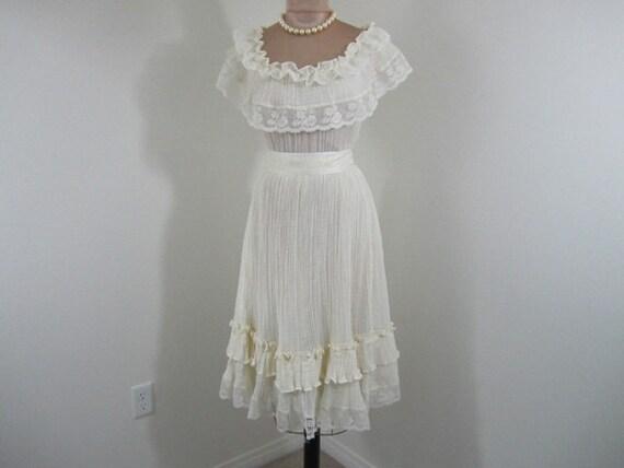 Vintage 1970's 70s // cream gauze Frederick's of Hollywood // boho hippie party glam dress