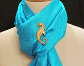 Nautical Pashmina - Turquoise with Seahorse Pin