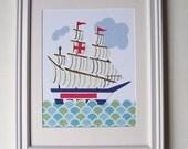 Tall Ship, Nursery Art Wall Decor, Beach House Decor, Boys Room Art, Sailboat, Blue, Red, Aqua, On The High Seas, 8x10 Print